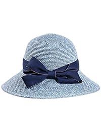SUNNY 女性のカジュアルな麦わら帽子サンハット - 無地のボウノット