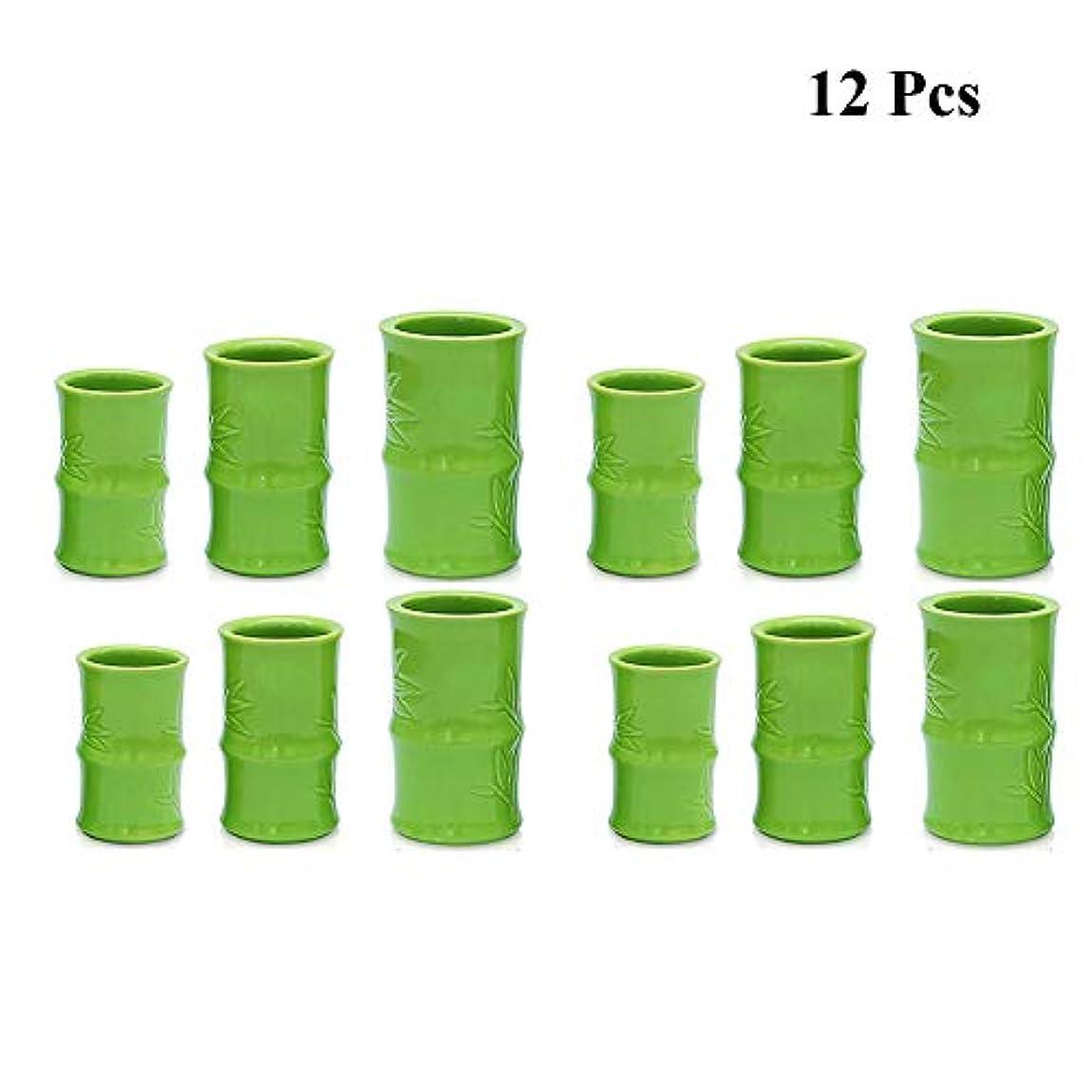 ぐるぐる気絶させる混乱させる真空カッピングマッサージ療法セット - 陶磁器の鍋缶 - 鍼ボディセラピーセット,D12pcs