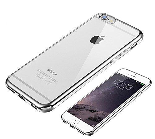 iPhone6 / 6s スリム TPU ケース メッキ加工 9H強化ガラスフィルム セット (iPhone6/6s(4.7), シルバー)