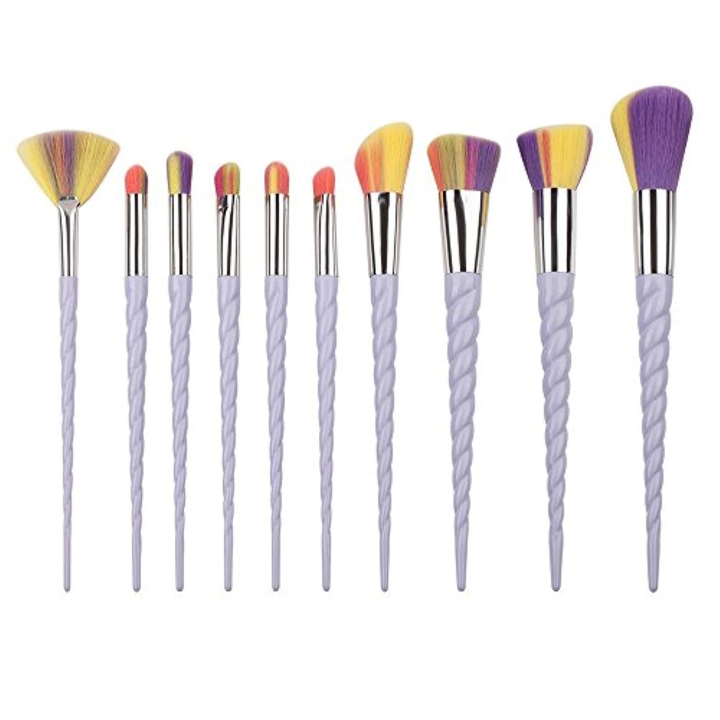 身元名義で比率Dilla Beauty 10本セットユニコーンデザインプラスチックハンドル形状メイクブラシセット合成毛ファンデーションブラシアイシャドーブラッシャー美容ツール (ホワイト-3)