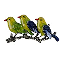 PINKING ブローチ 3羽の小鳥 可愛い 手作り アクセサリー 安全ピン キラキラ 面白い ファッション オシャレ