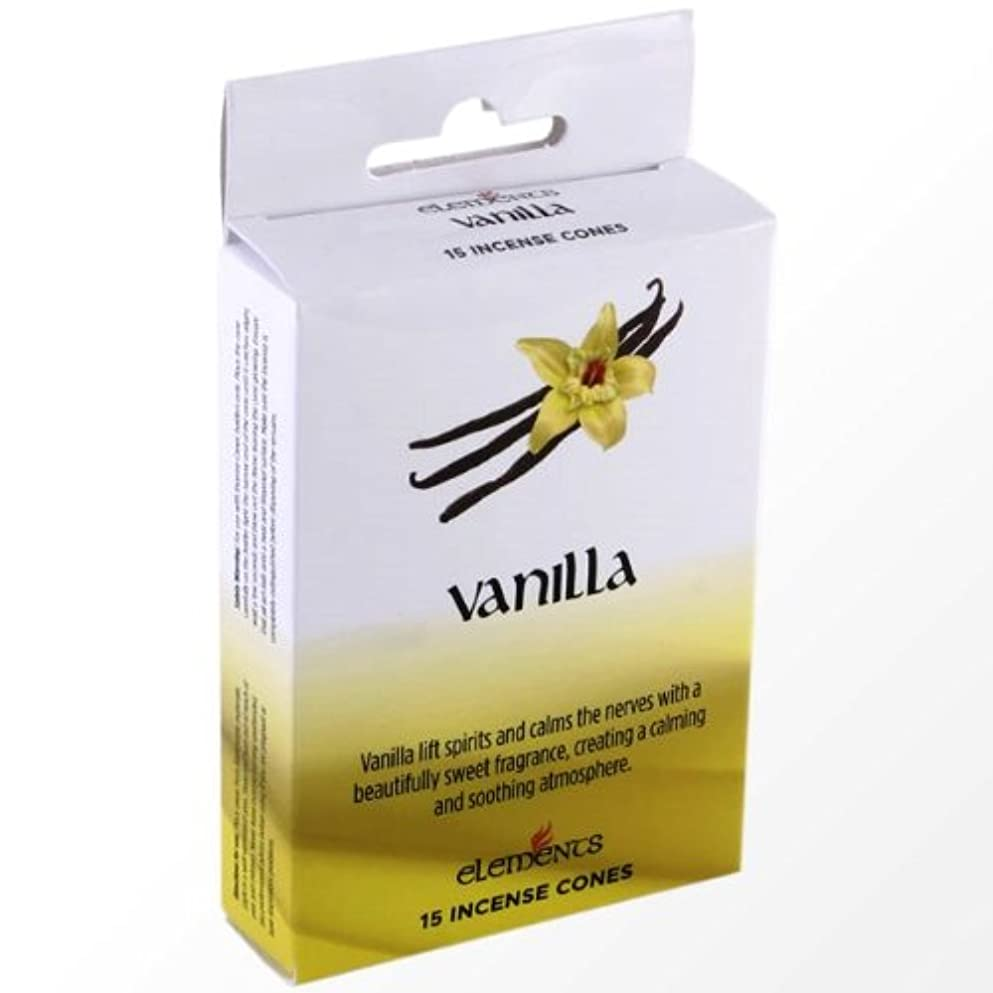 服を洗うロータリー床(VANILLA) - Box of 15 Indian Incense Cones Elements (VANILLA)