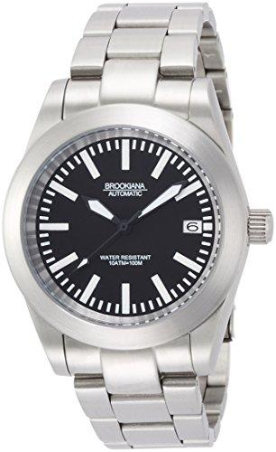 [ブルッキアーナ]BROOKIANA 腕時計 日本製自動巻ムーブメント NH35搭載(手巻付)  デイト表示 ブラック×シルバーメタル BA1686-SBMSV メンズ 腕時計