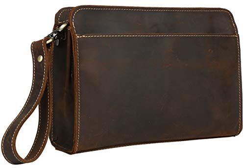 [(チョウギュウ) 潮牛] 贅沢一枚牛革 総革 メンズ セカンドバッグ クラッチバッグ 本革 チェーン付き ブラウン アンティーク風