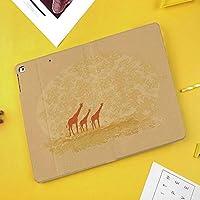 iPad Pro 10.5 ケーススタンド機能10.5インチ iPad Pro 保護カバー シンプル 二つ折タイプ 全面保護型 傷つけ防止 iPad Pro10.5手帳型ケース PU New iPad Pro 10.5 Case(iPad Pro 10.5)レトロな色のサファリサバンナデザインで野生のキリン動物の自由奔放に生きる動物自由奔放に生きる風景