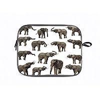 パソコン ケースパソコンバッグノート PCスリーブ 保護ケース 個性 ショルダーベルト付き ケース 10インチ 象の装飾、象の牙の耳の大規模な野生生物ジャングル哺乳類の森の装飾、