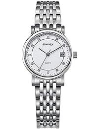 Comtex 腕時計 ホワイト ステンレス ウォッチ カレンダー おしゃれ 時計 レディース