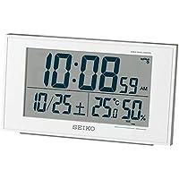 セイコークロック 置き時計 01:白パール 本体サイズ:8.5×14.8×5.3cm 【ギフト包装】電波 デジタル カレンダー 快適度 温度 湿度 BC402W