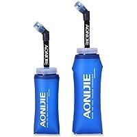 ハイドレーションパック 折りたたみ水筒 ハイドレーションチューブ付き シリコンボトル 携帯式ボトル アウトドア スポーツ ジョギング マラソン サイクリング(350ML,600ML)