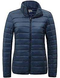 レディース 軽量 ダウンジャケット ダウンコート ライトコート カジュアル アウトドア - 防寒 立ち襟 無地 ポケッタブル