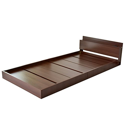 DORIS ベッド ベッドフレーム シングル ロータイプ 組立式 コンセント付 ブラウン アトラス