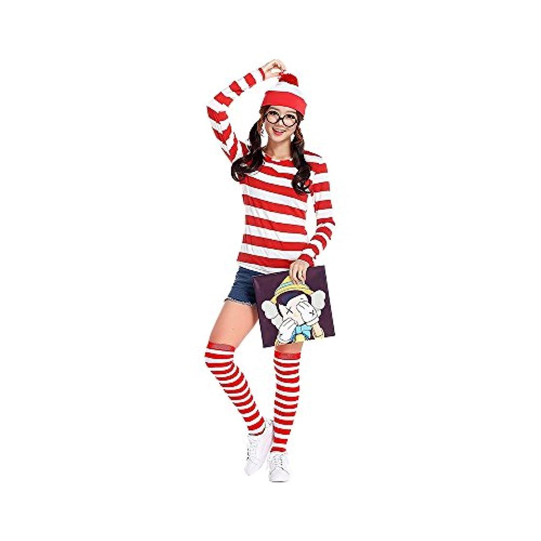 次へ進化するたとえノーブランド品 ウォーリーを探せ Where's Wally コスプレ ウォーリー ウェンダ コスチューム レディース 大人用 ハロウィン衣装 仮装 文化祭 4点セット   男女共用 (帽子+Tシャツ+ソックス+レンズなしメガネ)(XXL, レッド)