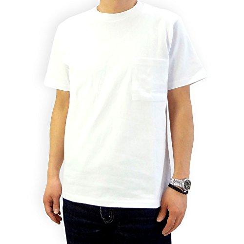(グッドウェア) Good Wear USAコットン無地ポケットTシャツ (L, ホワイト)