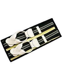 (ブレイス)Brace 6ボタン止め サスペンダー メンズ 紳士 英国 AZ Black Grey ブラック グレー Stripe/WhiteLeatherend B412