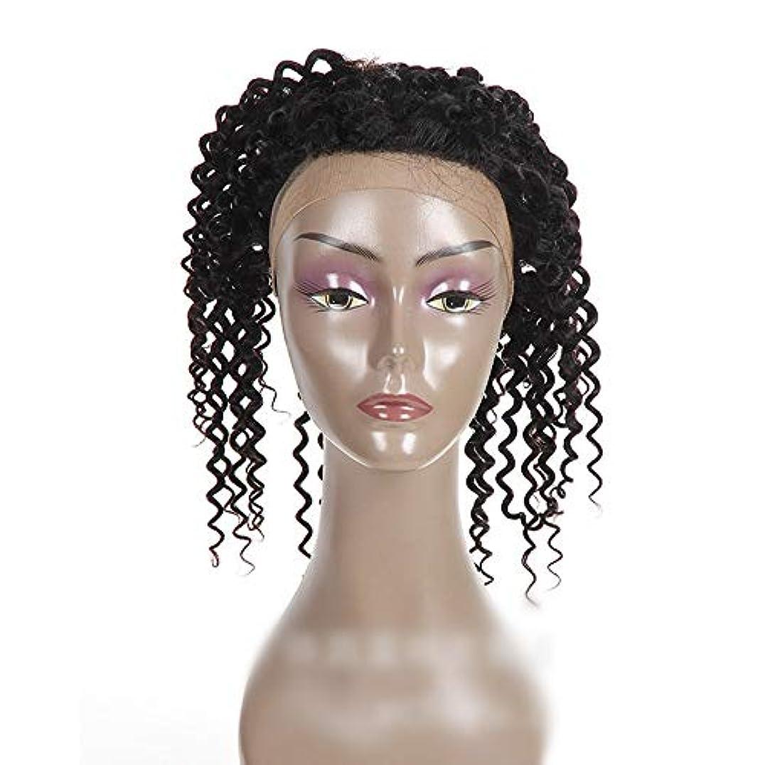 合唱団カレッジフクロウMayalina ナチュラルカラー360レース前頭閉鎖ブラジル人間の髪の毛深い波カーリーフリーパートヘアエクステンションショートカーリーウィッグ (色 : 黒, サイズ : 16 inch)