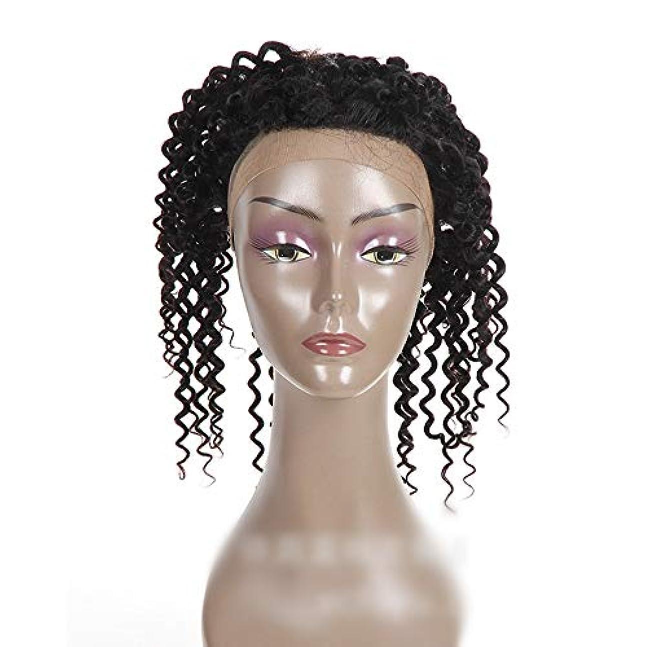 忠実ハンディ狐Mayalina ナチュラルカラー360レース前頭閉鎖ブラジル人間の髪の毛深い波カーリーフリーパートヘアエクステンションショートカーリーウィッグ (色 : 黒, サイズ : 16 inch)