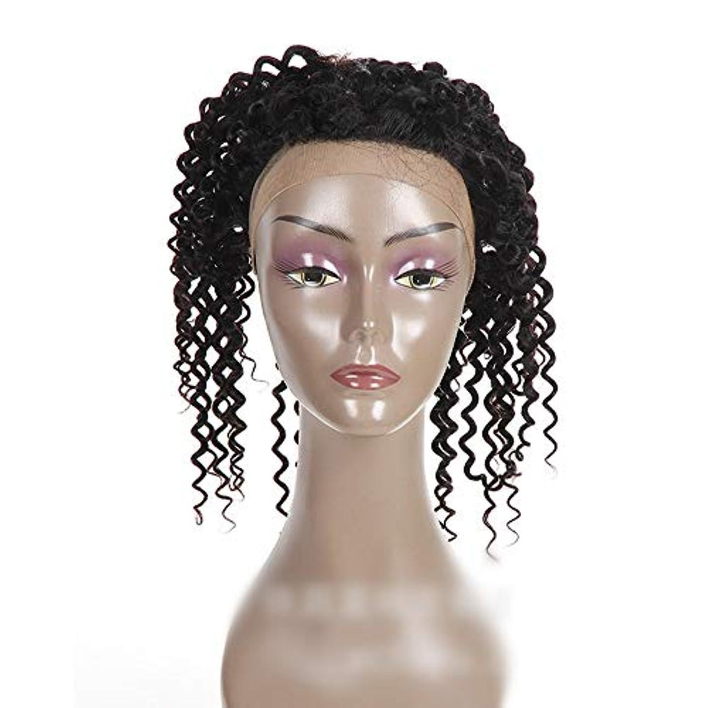 ちらつき八百屋現像Mayalina ナチュラルカラー360レース前頭閉鎖ブラジル人間の髪の毛深い波カーリーフリーパートヘアエクステンションショートカーリーウィッグ (色 : 黒, サイズ : 16 inch)