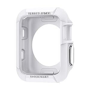 【Spigen】 Apple Watch Series 2 / Apple Watch Series 1 ケース (38mm) ラギッド・アーマー [ 落下 衝撃 吸収 ]アップルウォッチ シリーズ 2 / シリーズ 1 対応 カバー 液晶保護フィルム 2枚入 (ホワイト【SGP11486】)