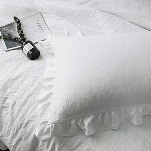 MooWoo ホワイト枕カバー/ピロケース 2枚セット46cmx63cm ピロケース フリル付き 封筒式 合わせ式 肌に優しい ライト(ホワイト, 枕カバーX 2 枚)
