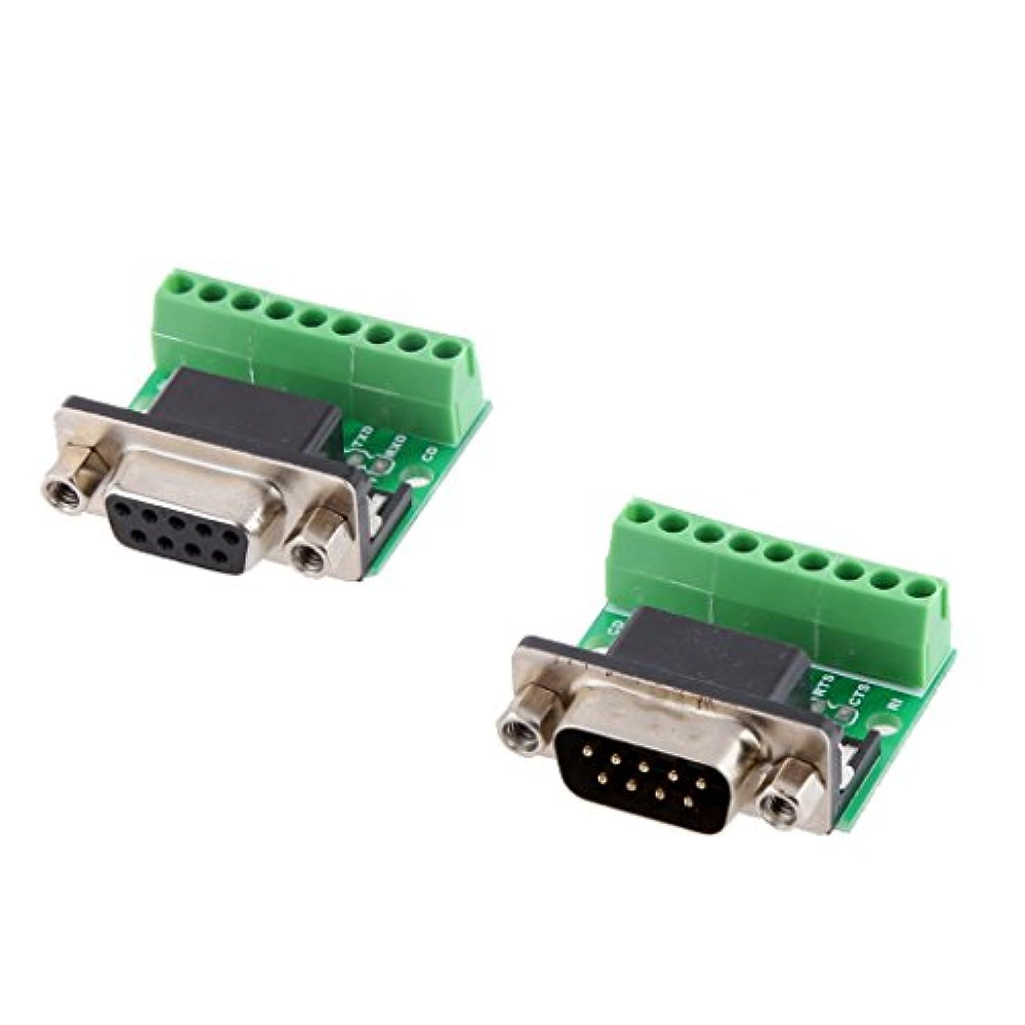 東部接辞変換するShiwaki 2個 DB9 圧着端子 メス/オス 9ピン RS232 RS485 コネクタ アダプター
