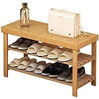 CSQ 木製の靴ラックセーブスペースアパートマルチレイヤーレディースシューズ防塵シューズボックスに座ることができます 靴 (色 : Brown, サイズ さいず : 70 * 27 * 45cm)