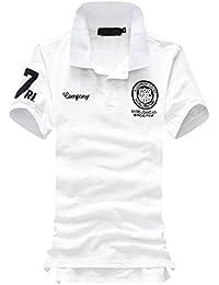 メンズ 半袖 ポロシャツ ワンポイント カジュアル ゴルフ ビジネス シンプル 無地 ポロ