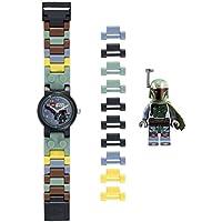 LEGO Star Wars 8020363 Boba Fett Kids Buildable Watch with Link Bracelet and Minifigure | Green/Gray | Plastic | 25mm Case Diameter | Analog Quartz | Boy Girl | Official