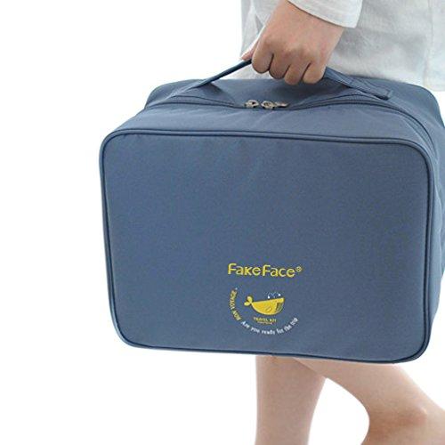 FakeFace 旅行用品 衣類収納ポーチ トラベルスーツケース 4カラー 手持ち 防水 ナイロンバッグ アレンジケース インナー収納 出張グッズ ユニ ブルー