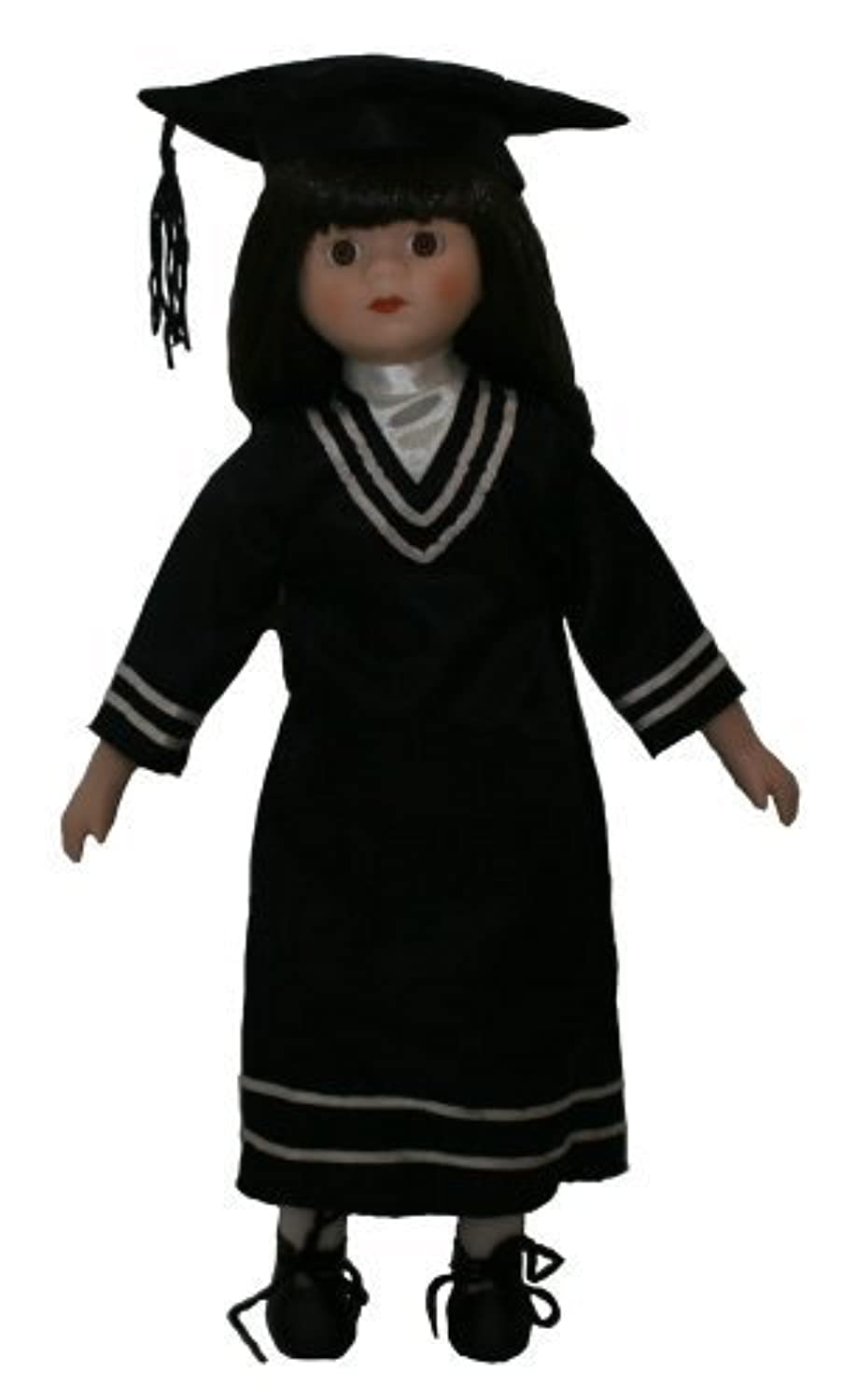 Standing Student Graduate Porcelain Doll, 16 Inches, with Graduation Gown and Cap
