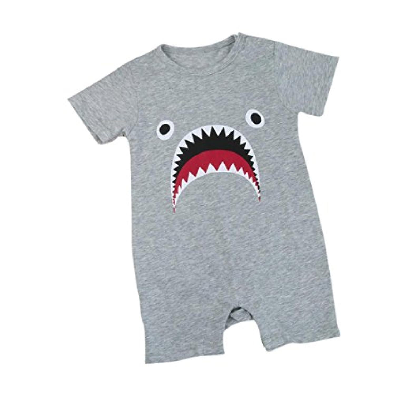 HUYBベビー服 半袖 サメ プリント 可愛い ジャンプスーツロンパース子供服 男の子 女の子 赤ちゃんキッズ服