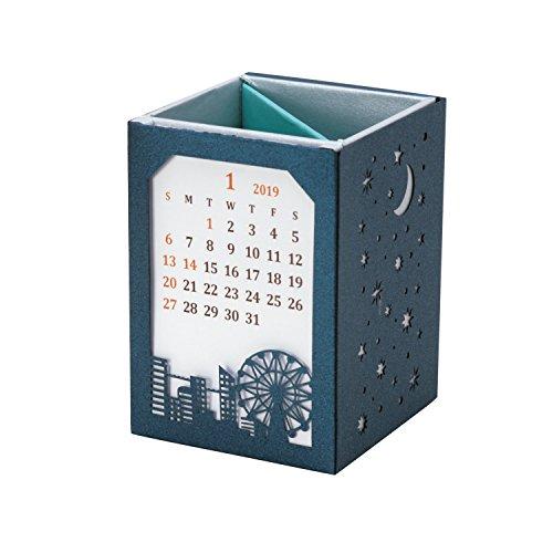 包む カレンダー 2019年 ペンスタンド レーザーカット 街並 CL-1903