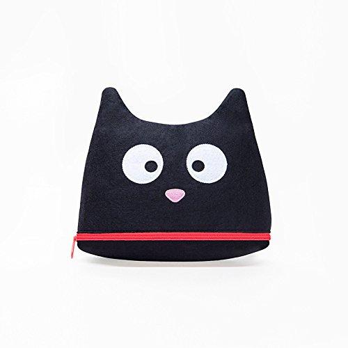 (moin moin) 化粧 ポーチ メイク ケース 猫 フェイス お口がチャック フェルト 大容量 (ブラック)