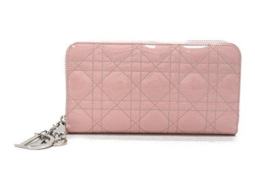 [クリスチャン・ディオール] Dior カナージュ ラウンド長財布 長財布 ピンク エナメル [中古]