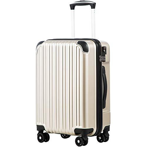 [クールライフ] COOLIFE スーツケース キャリーバッグダブルキャスター 二年安心保証 機内持込 ファスナー式 人気色 超軽量 TSAローク (S サイズ(機内持ち込み), シャンパン)