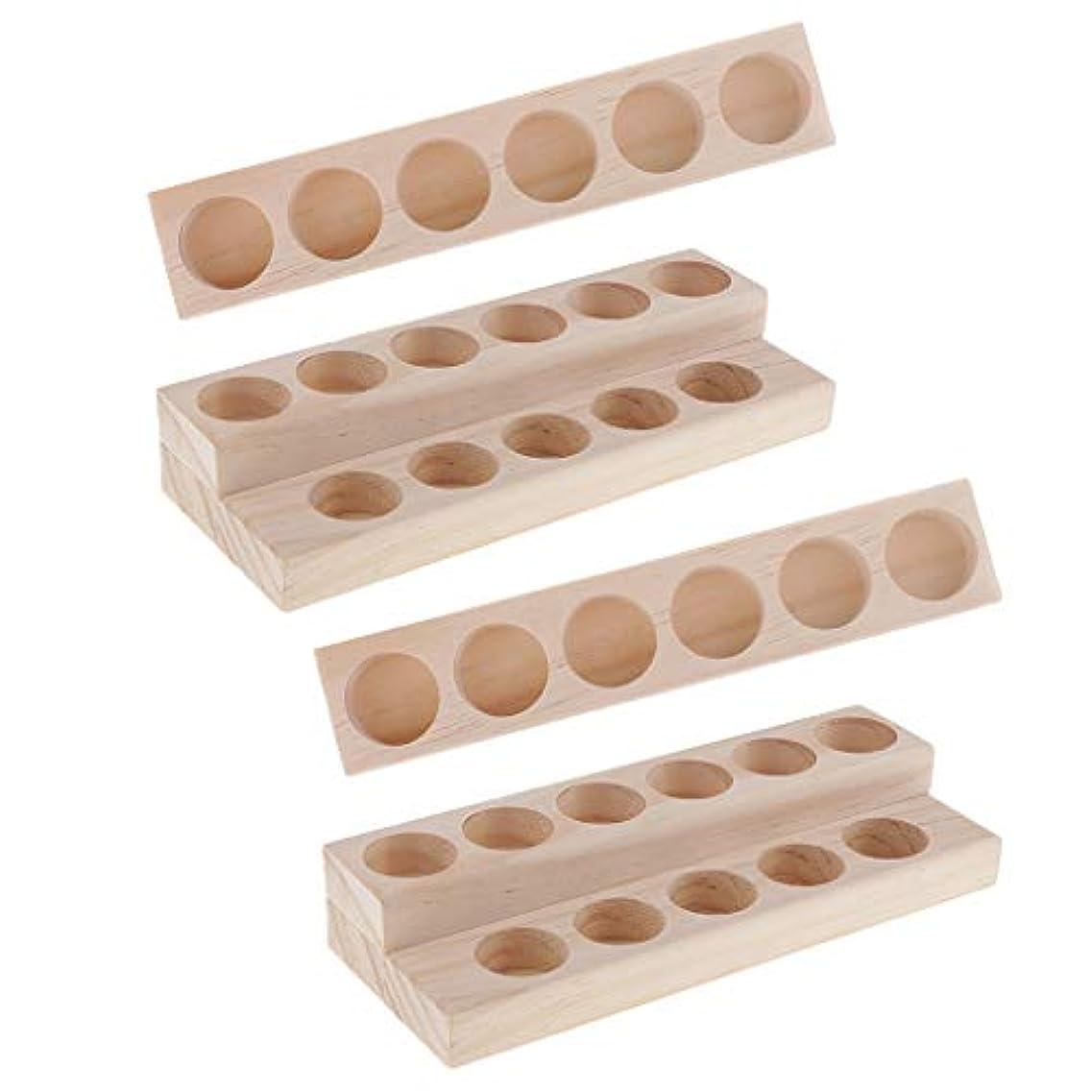 裁定入植者リスクHellery 木製 エッセンシャルオイル ディスプレイ 香水瓶収納 マニキュアスタンド 美容室 ネイルサロン 用品 4個入り