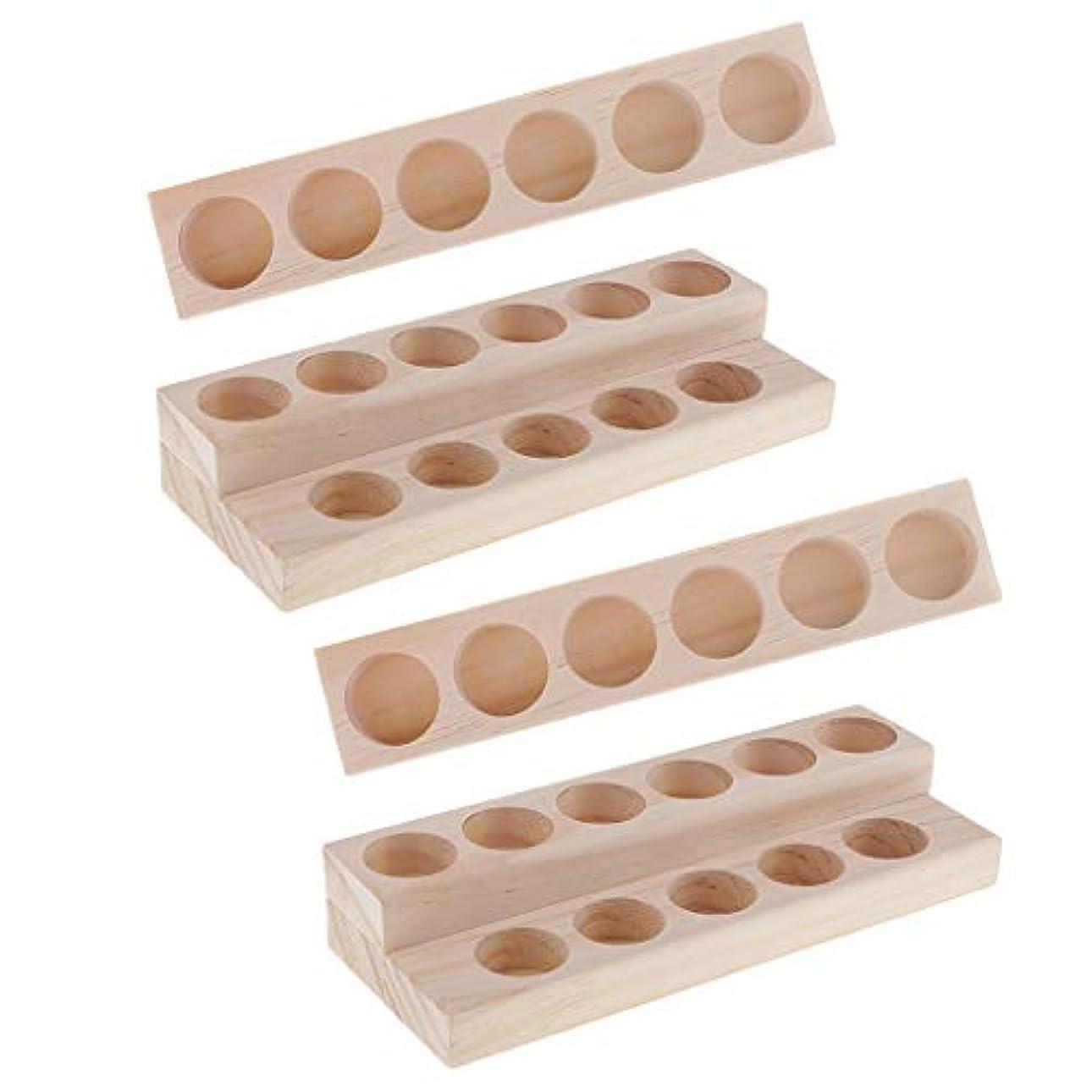 つづり地中海練習Hellery 木製 エッセンシャルオイル ディスプレイ 香水瓶収納 マニキュアスタンド 美容室 ネイルサロン 用品 4個入り