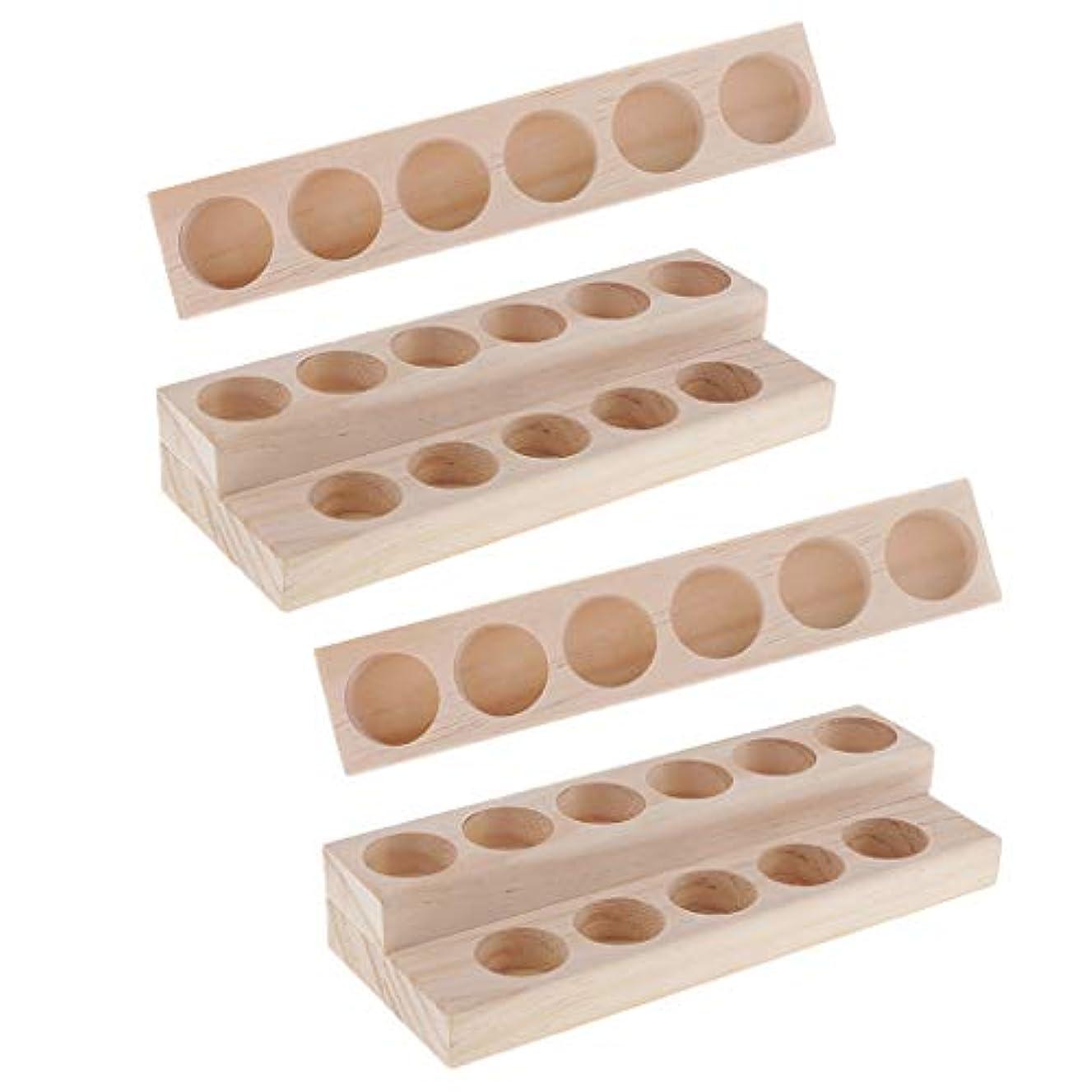 スロー非互換拍手するHellery 木製 エッセンシャルオイル ディスプレイ 香水瓶収納 マニキュアスタンド 美容室 ネイルサロン 用品 4個入り