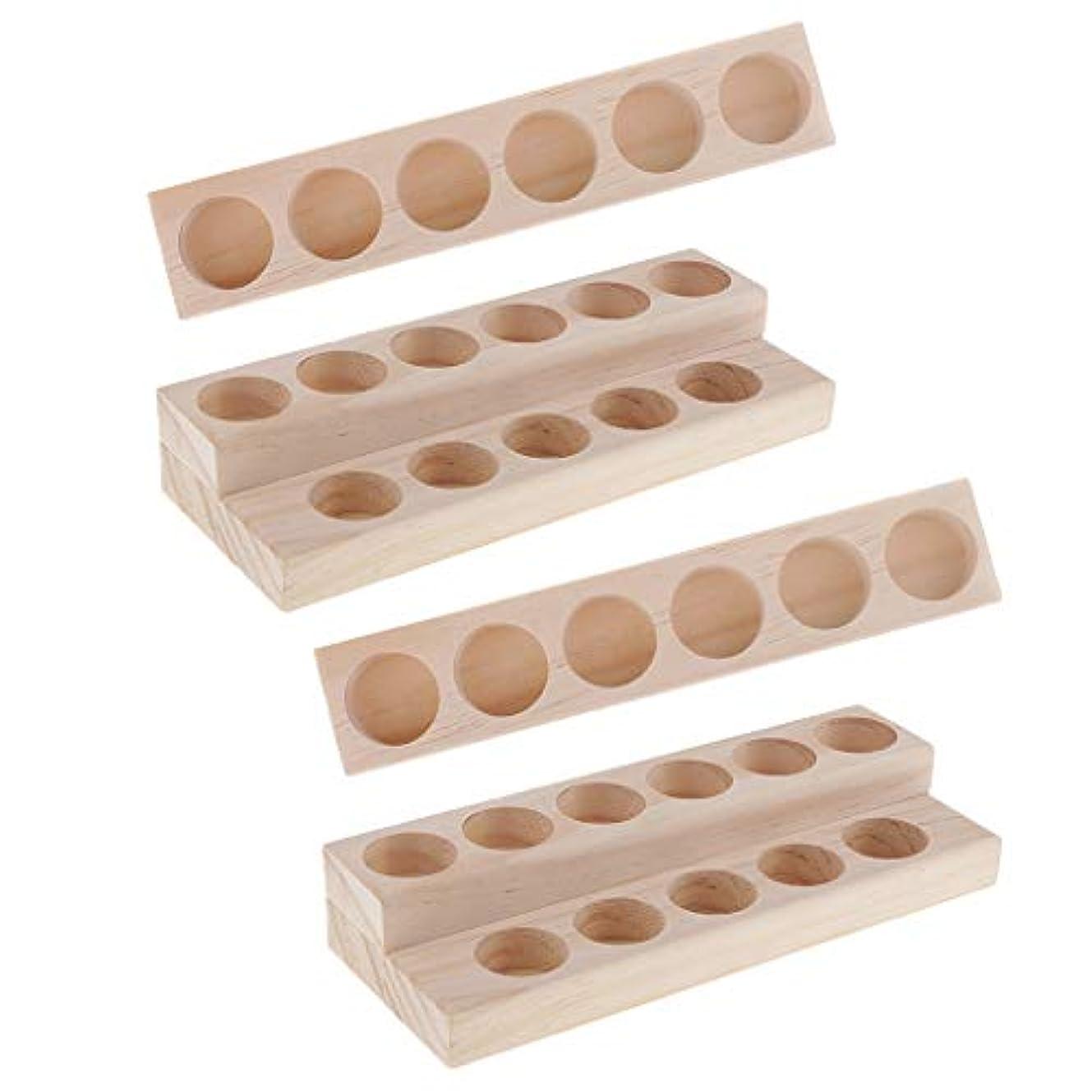ランデブーばかげた故国Hellery 木製 エッセンシャルオイル ディスプレイ 香水瓶収納 マニキュアスタンド 美容室 ネイルサロン 用品 4個入り