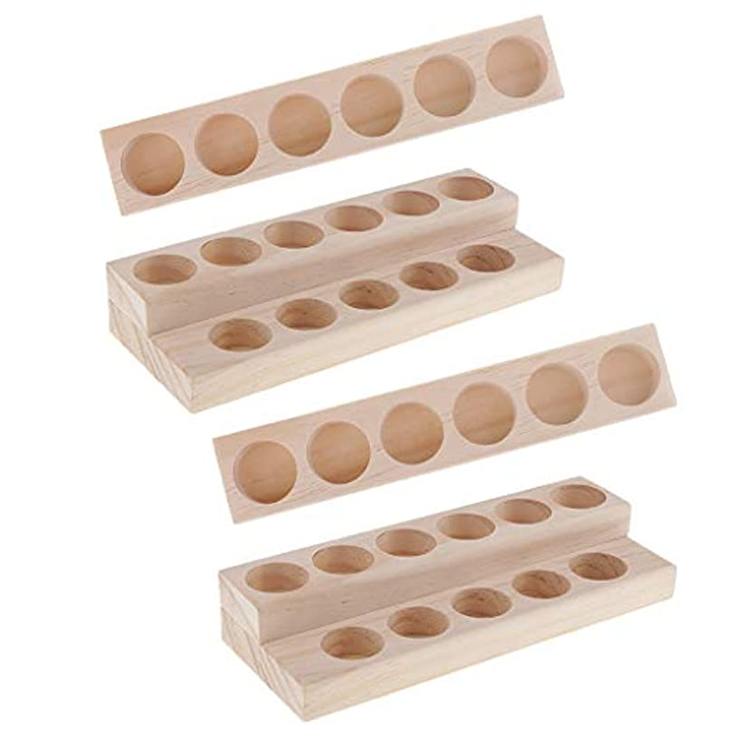 塩辛い利点マーキーHellery 木製 エッセンシャルオイル ディスプレイ 香水瓶収納 マニキュアスタンド 美容室 ネイルサロン 用品 4個入り
