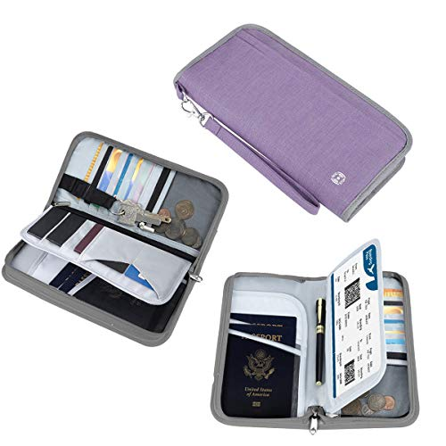 SHINPACK パスポートケース スキミング防止 家族 国内海外旅行用品 通帳ケース 航空券 紙幣 カード 小銭 ペン 鍵など収納可 大容量 トラベルウォレッド パスポートバッグ ポーチ (パープル)