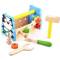 joyeee木製学習ワークベンチキュートパンダ – 子供エンジニアリングLearnワークショップツールごっこプレイセットおもちゃAll - in - One Toolbenchセンターの子3年とUp – 完璧なクリスマスギフトIdea