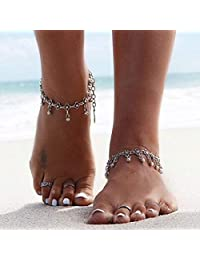 Aukmla Vintage Anklet Bracelet Silver Ankle Bracelets Sand Beach Foot Chain Jewelry for Women and Girls anklet-004
