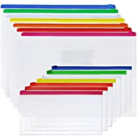 EOOUT ファスナー付き封筒 透明プラスチックファスナー付きファイルドキュメントフォルダーバッグ 14個入り 7つのA4サイズ 7つのA6サイズ