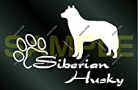 アトリエDOM 少し大きめ 犬のステッカー シベリアンハスキー [白](受注生産) ハスキー ステッカー