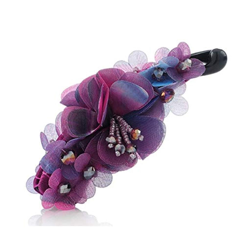 インフレーションチーフ記録ヘアクリップ、ヘアピン、ヘアグリップ、ヘアグリップ、ヘアピン女性の大きなポニーテールクリップファッションポップフラワーヘアピン布の頭飾りバナナクリップ垂直クリップ手作りの生地パープル、グレー、ブルー (Color : Purple...