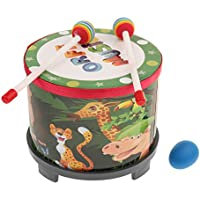 F Fityle ウッド製 ハンドドラム マレット付き 贈り物 知育玩具 音楽玩具 楽器 子供用 おもちゃ