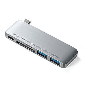 サンワダイレクト Macbook専用 USB PD対応 Type Cハブ Macbook充電機能付 USB3.0ハブ×2ポート・microSD/SD カードリーダー付 400-ADR306SPD