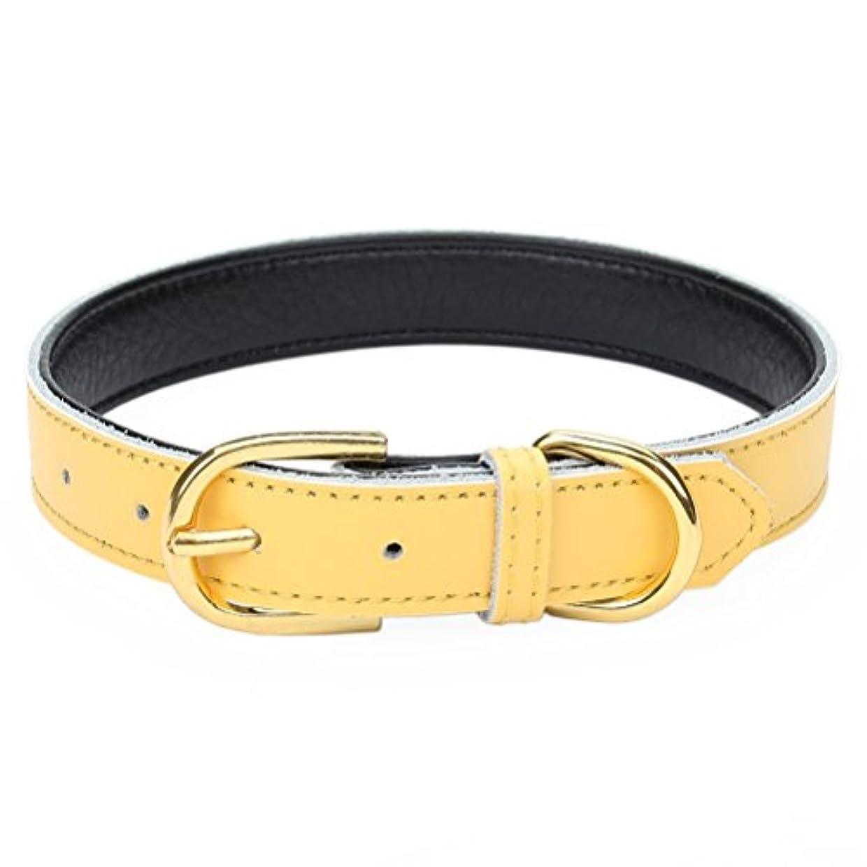 静かなリンス該当するMcdobexy 犬首輪 犬の首輪 ベーシック11色 5穴 調節 可能 パッド入り本革 かわいい おしゃれ 中型犬 小型犬 猫
