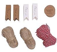 Thank you クラフトタグ 札 3種類 茶 白 ラウンド 各100枚 & 麻紐 30m 2巻 &赤白綿糸30m1巻セット