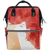 ママバッグ マザーズバッグ リュックサック ハンドバッグ 旅行用 美しい少女 赤い髪 ファション